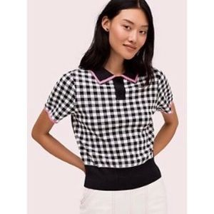 Kate Spade black and white polo sweater